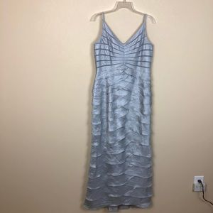 NWOT Adrianna Papell Silver Gray Long Evening Gown